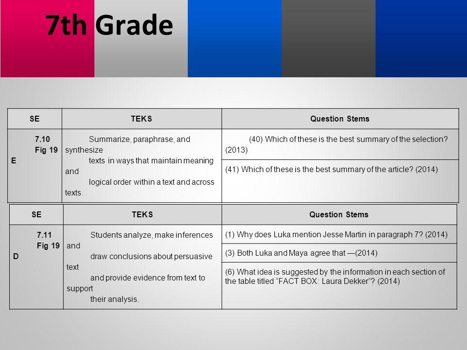 7th Grade SE TEKS Question Stems 7.10 Fig 19 E