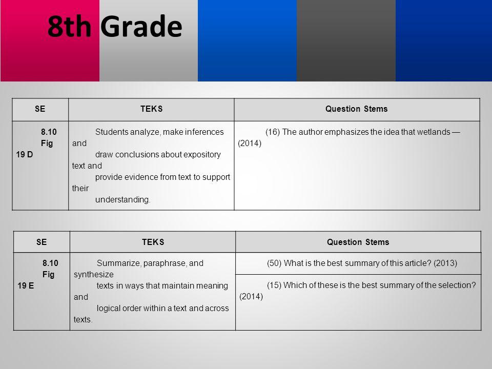 8th Grade SE TEKS Question Stems 8.10 Fig 19 D