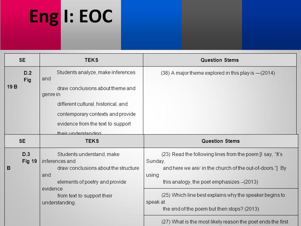 Eng I: EOC SE TEKS Question Stems D.2 Fig 19 B
