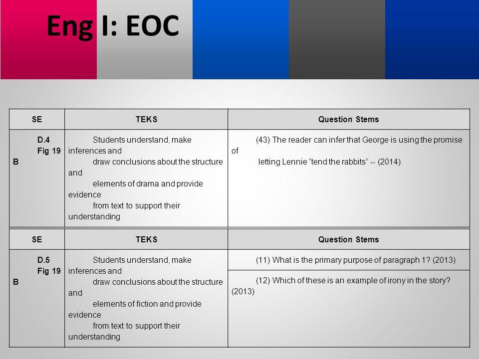 Eng I: EOC SE TEKS Question Stems D.4 Fig 19 B