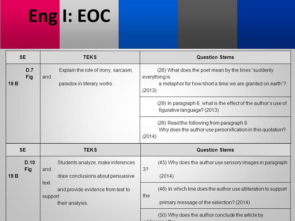 Eng I: EOC SE TEKS Question Stems D.7 Fig 19 B