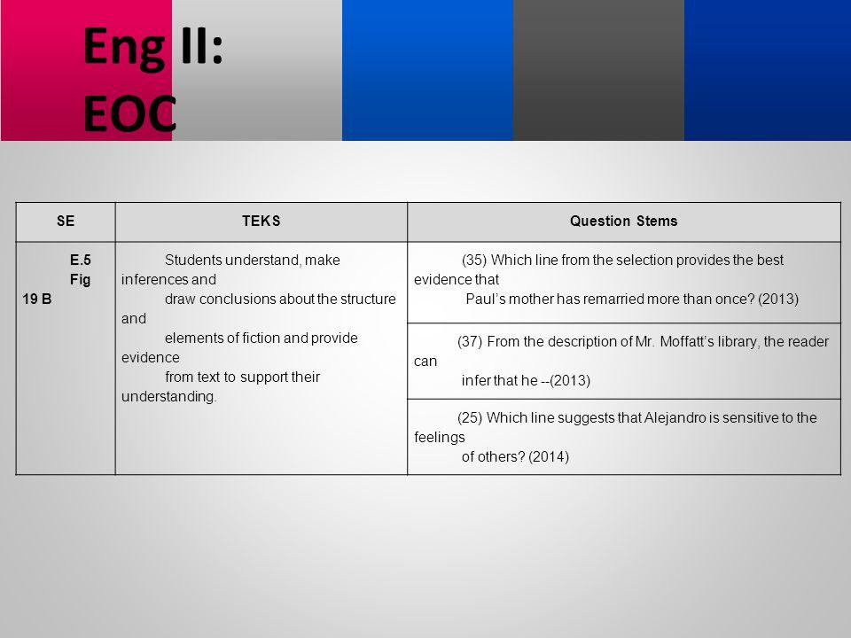 Eng II: EOC SE TEKS Question Stems E.5 Fig 19 B