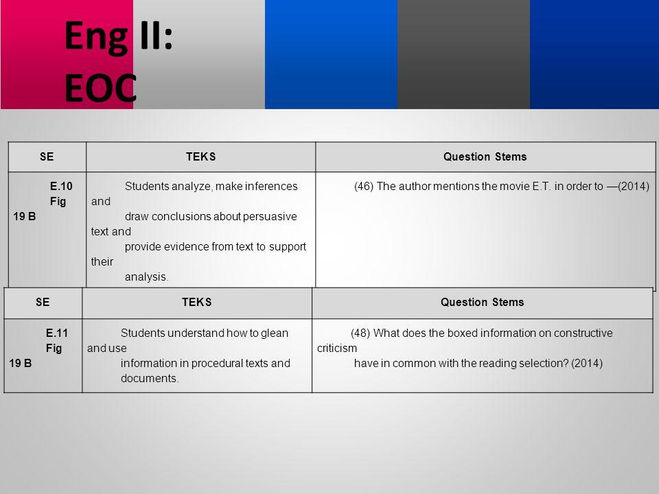 Eng II: EOC SE TEKS Question Stems E.10 Fig 19 B