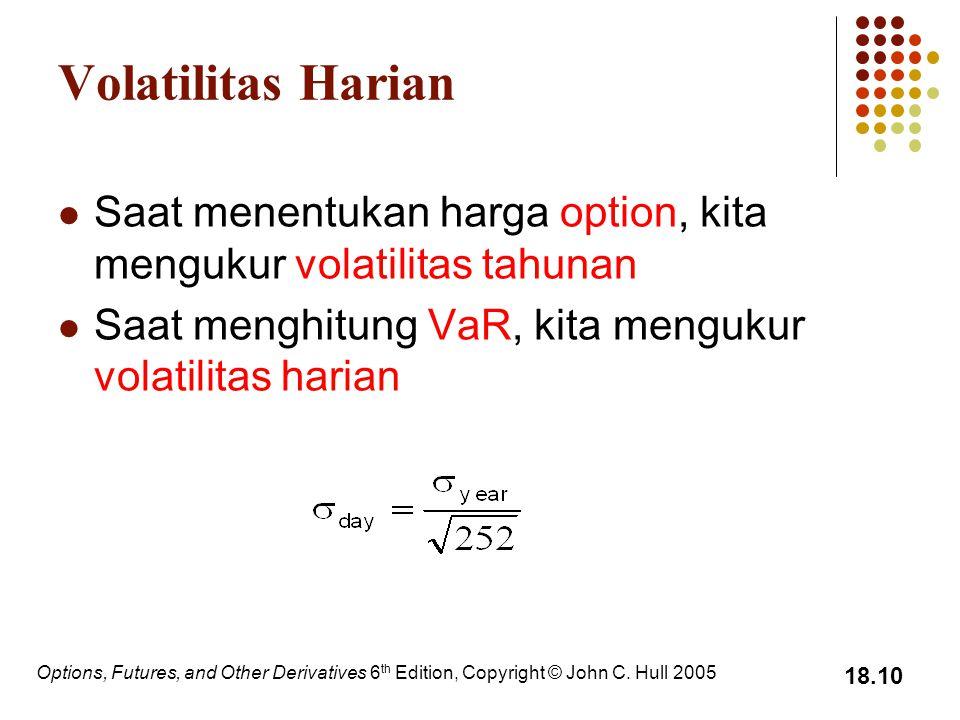 Volatilitas Harian Saat menentukan harga option, kita mengukur volatilitas tahunan. Saat menghitung VaR, kita mengukur volatilitas harian.