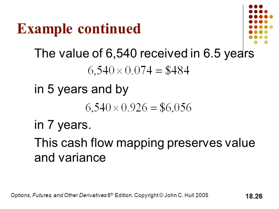 Example continued The value of 6,540 received in 6.5 years