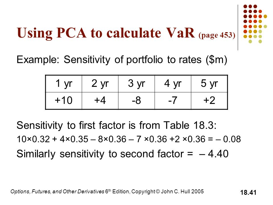 Using PCA to calculate VaR (page 453)