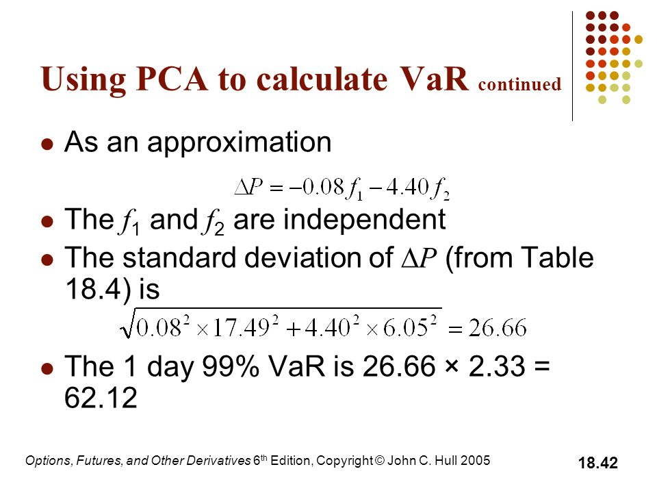 Using PCA to calculate VaR continued
