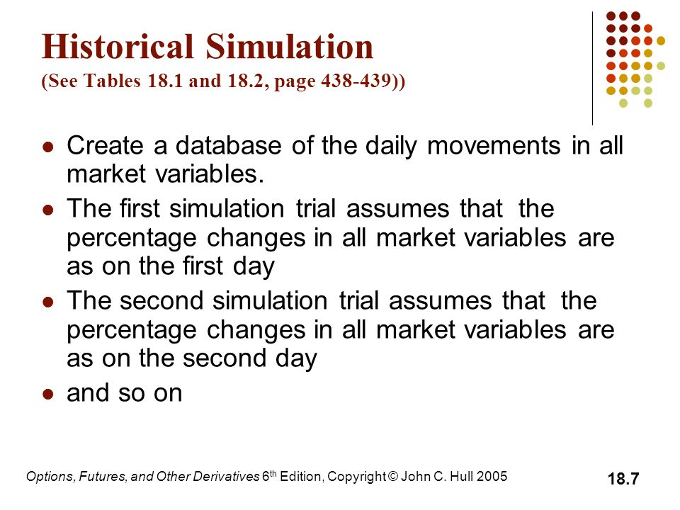 Historical Simulation (See Tables 18.1 and 18.2, page 438-439))