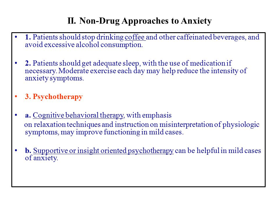 II. Non-Drug Approaches to Anxiety