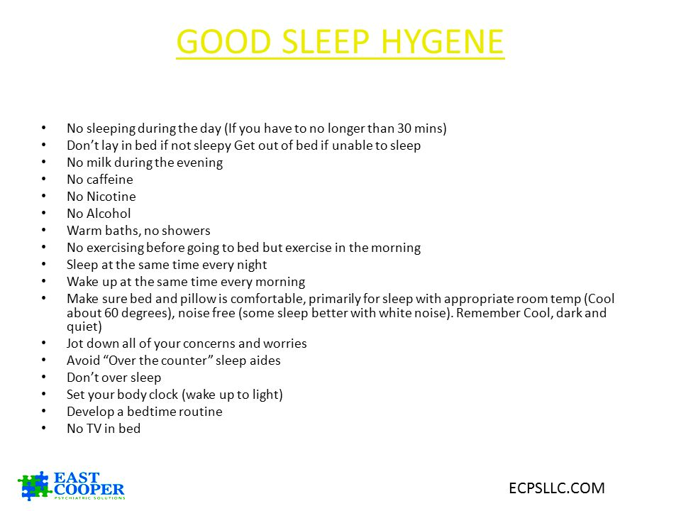 GOOD SLEEP HYGENE ECPSLLC.COM