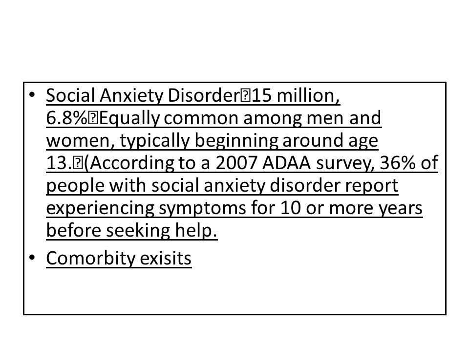 Social Anxiety Disorder 15 million, 6