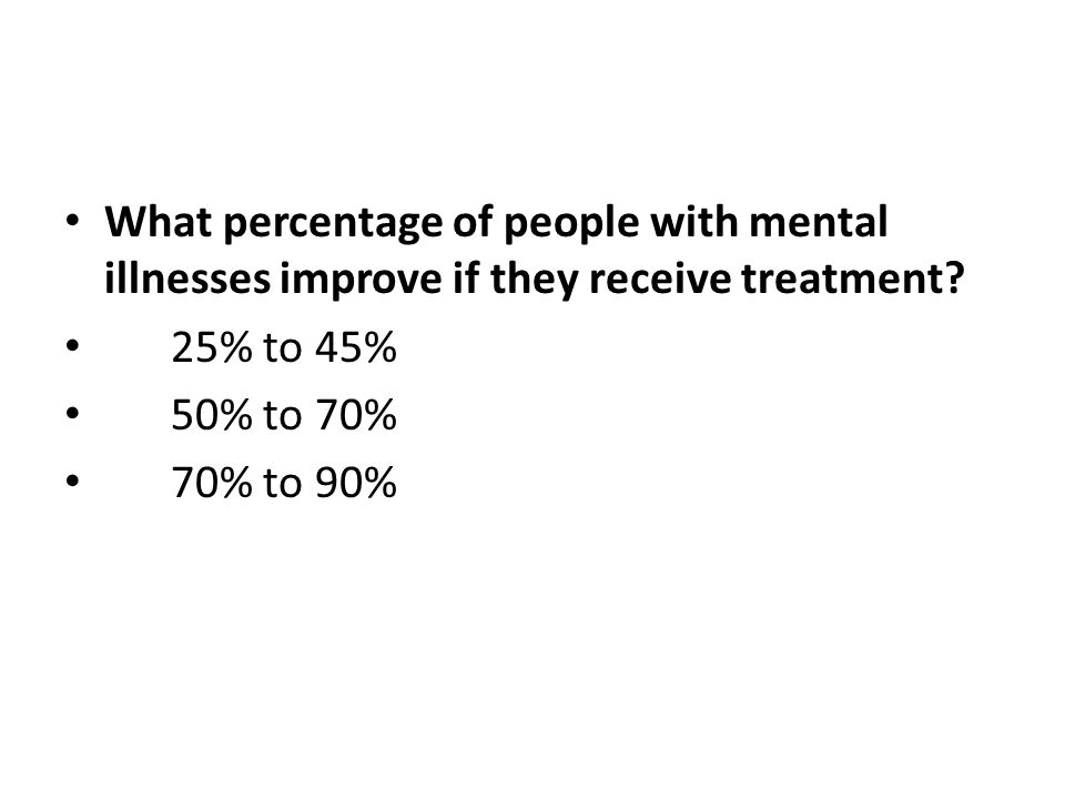 What percentage of people with mental illnesses improve if they receive treatment
