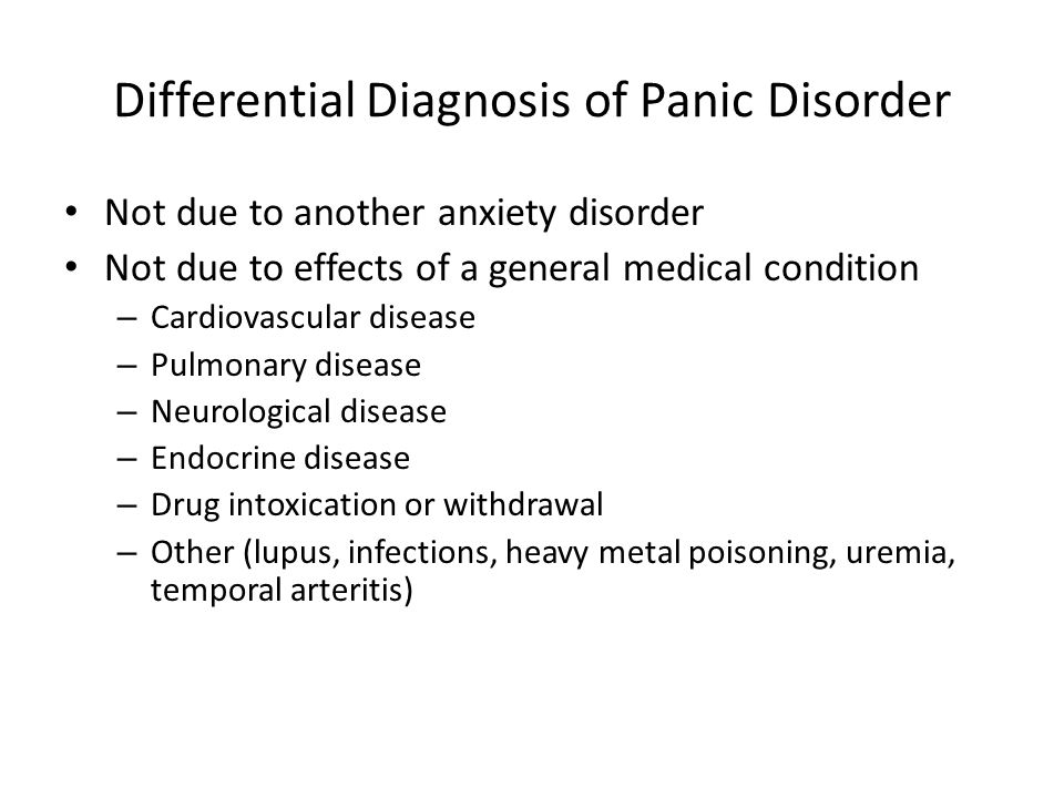 Differential Diagnosis of Panic Disorder