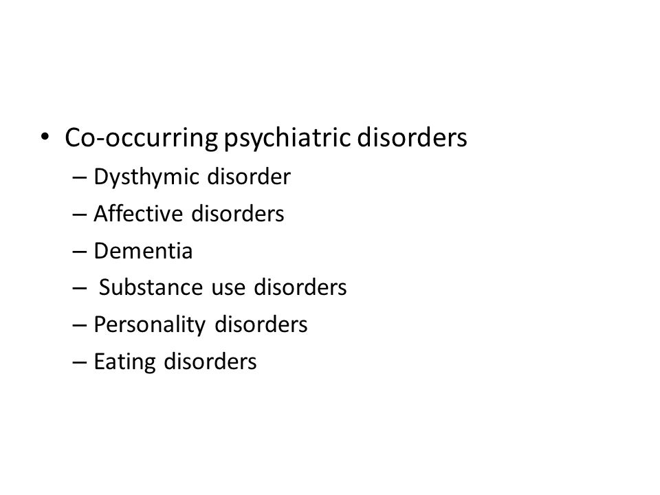 Co-occurring psychiatric disorders