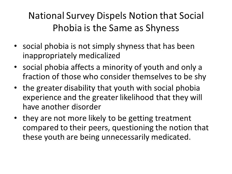 National Survey Dispels Notion that Social Phobia is the Same as Shyness