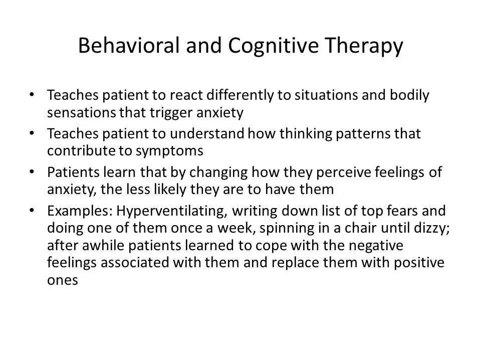 Behavioral and Cognitive Therapy
