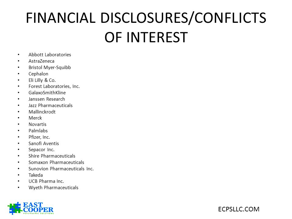 FINANCIAL DISCLOSURES/CONFLICTS OF INTEREST