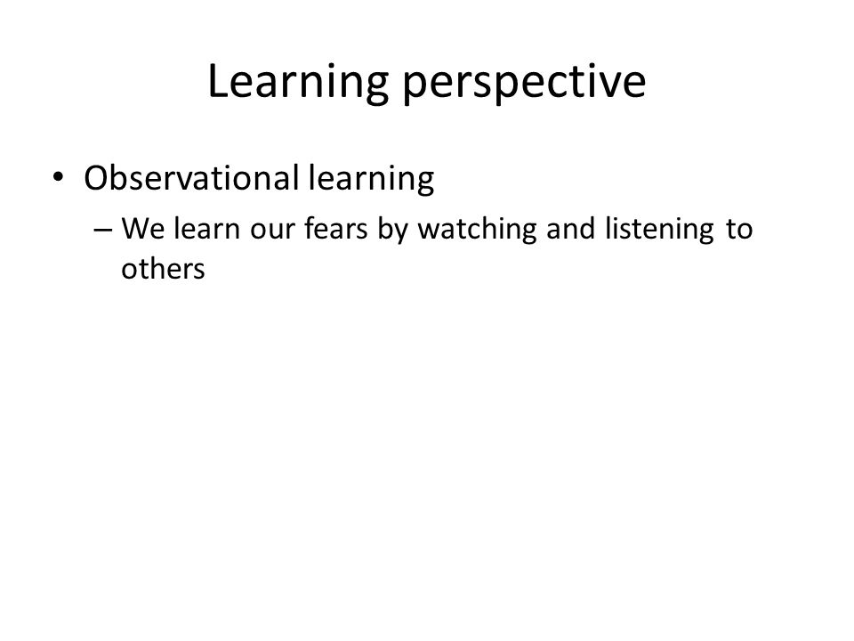Learning perspective Observational learning