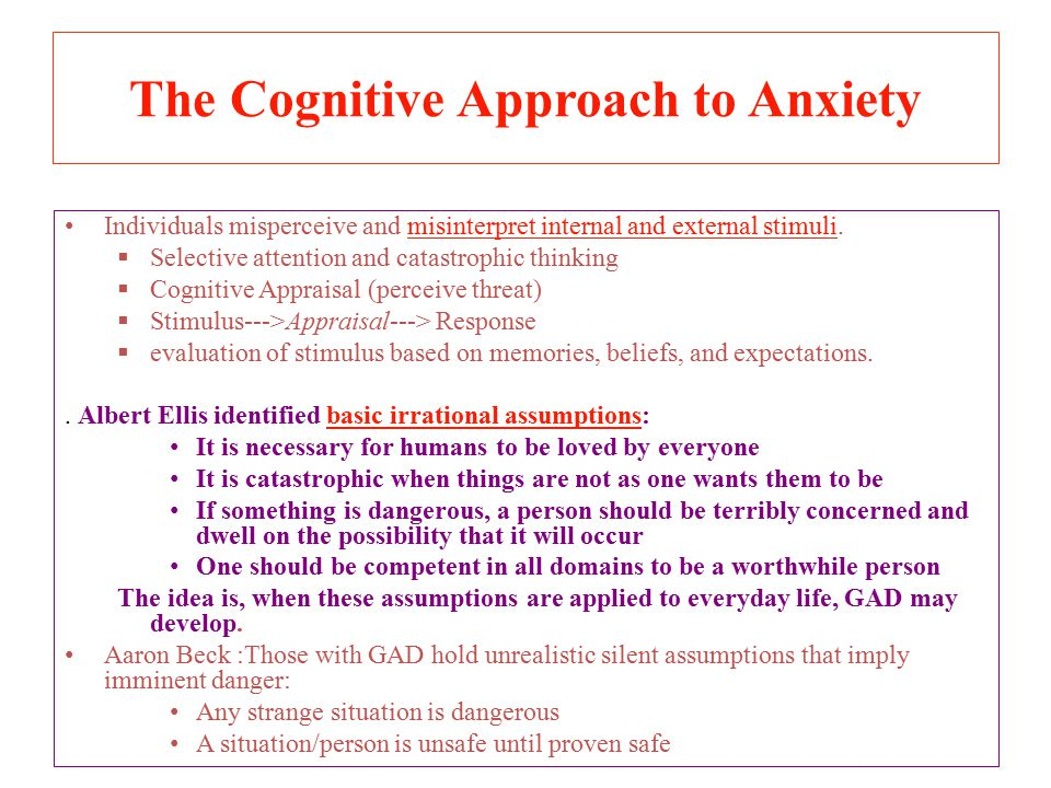 The Cognitive Approach to Anxiety