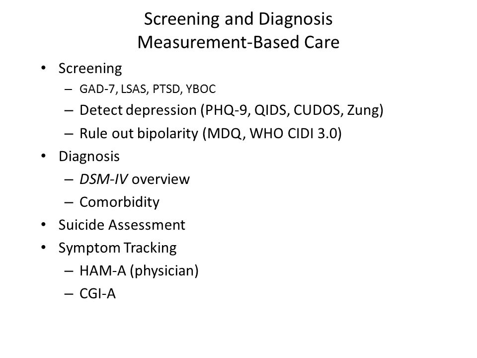 Screening and Diagnosis Measurement-Based Care