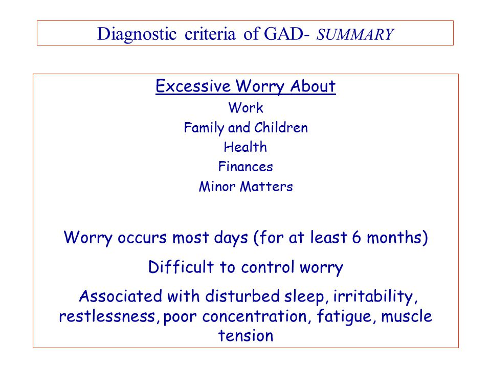 Diagnostic criteria of GAD- SUMMARY