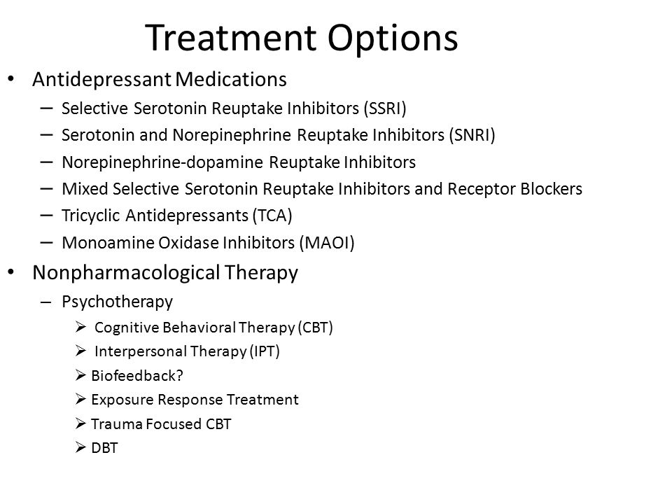 Treatment Options Antidepressant Medications