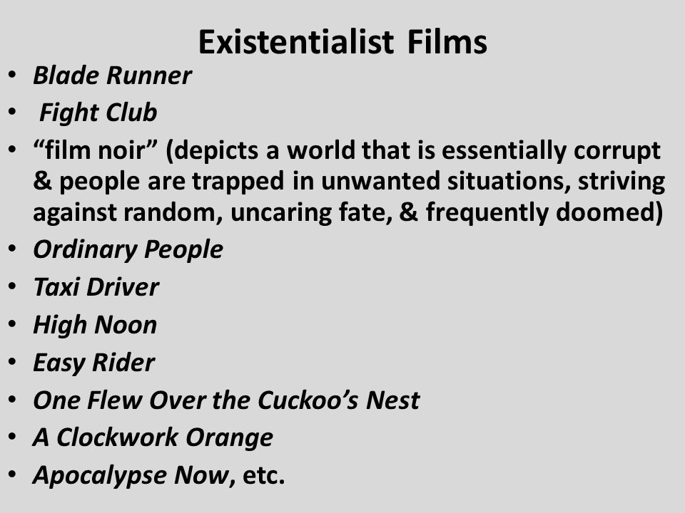 Existentialist Films Blade Runner Fight Club