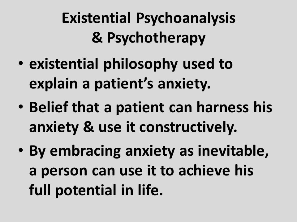 Existential Psychoanalysis & Psychotherapy