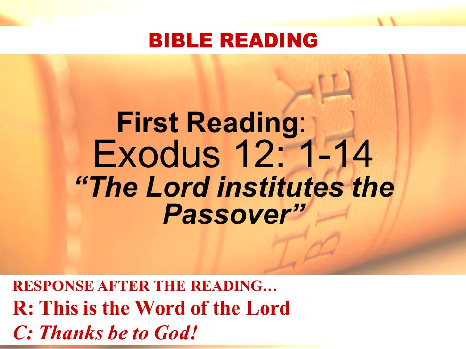 The Lord institutes the Passover