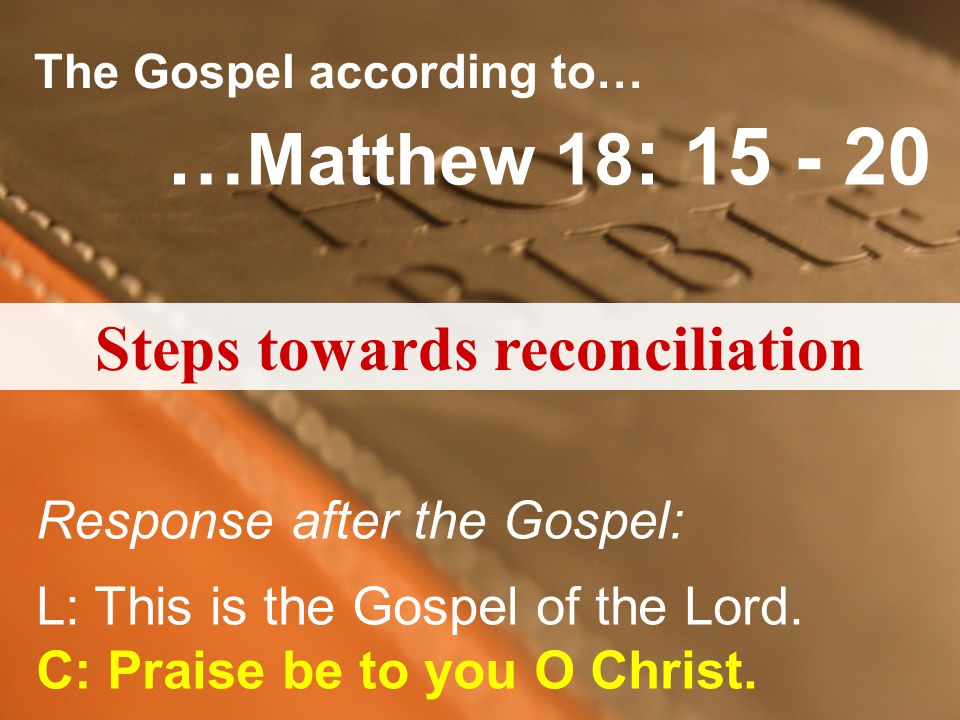 Steps towards reconciliation