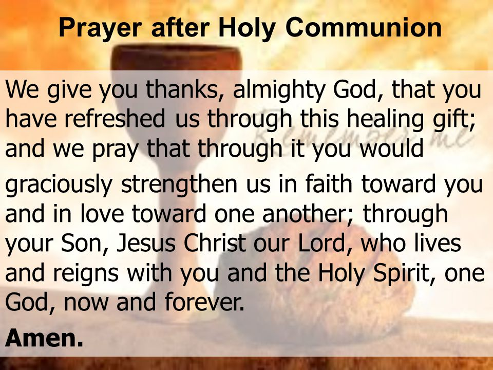 Prayer after Holy Communion