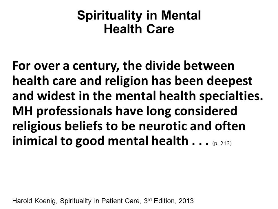 Spirituality in Mental Health Care