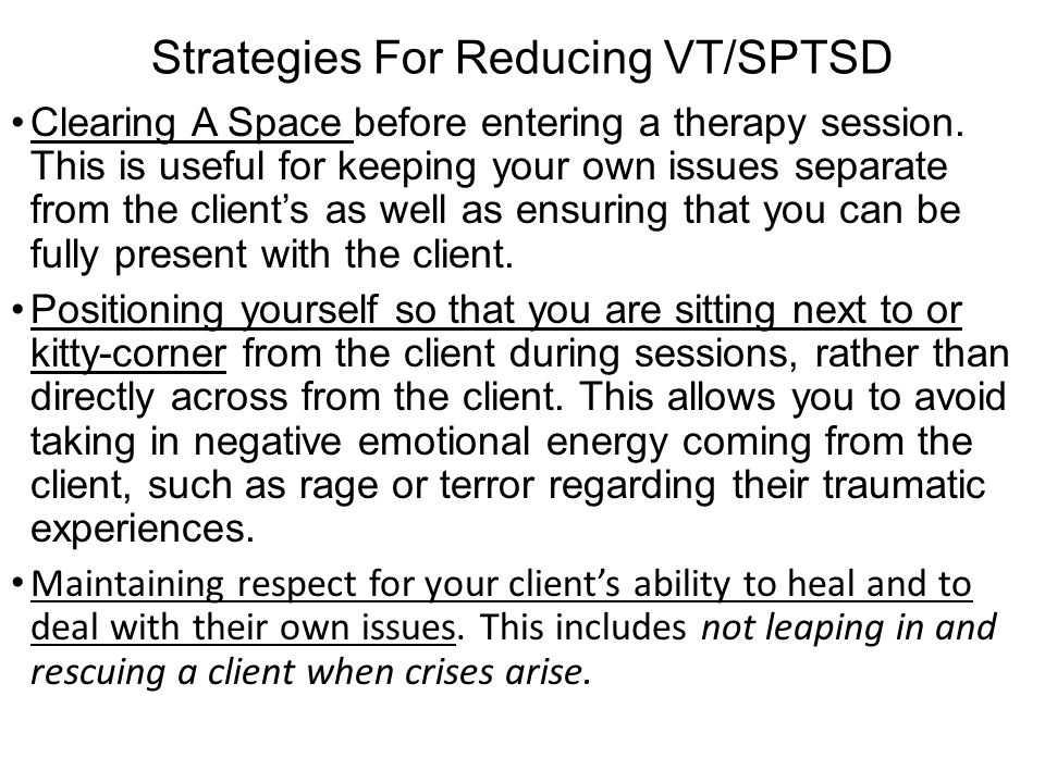 Strategies For Reducing VT/SPTSD