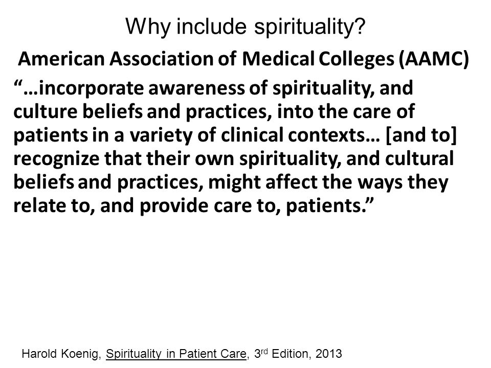 Why include spirituality
