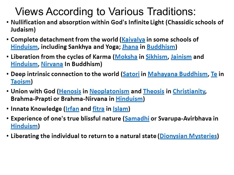 Views According to Various Traditions: