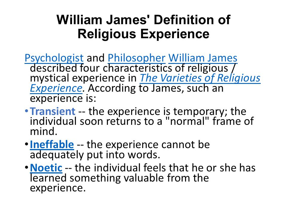 William James Definition of Religious Experience