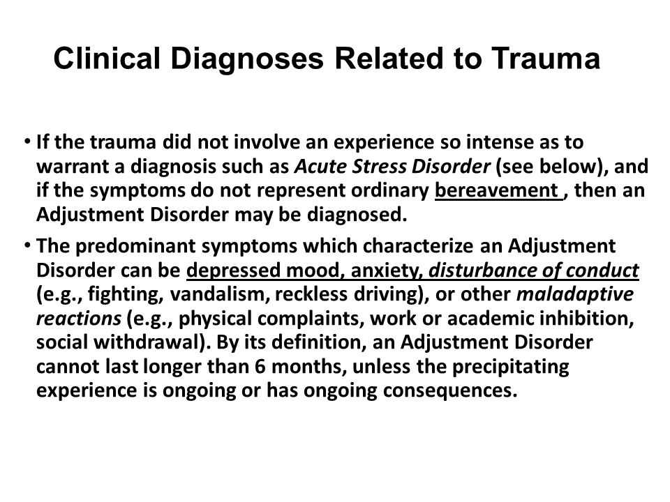 Clinical Diagnoses Related to Trauma