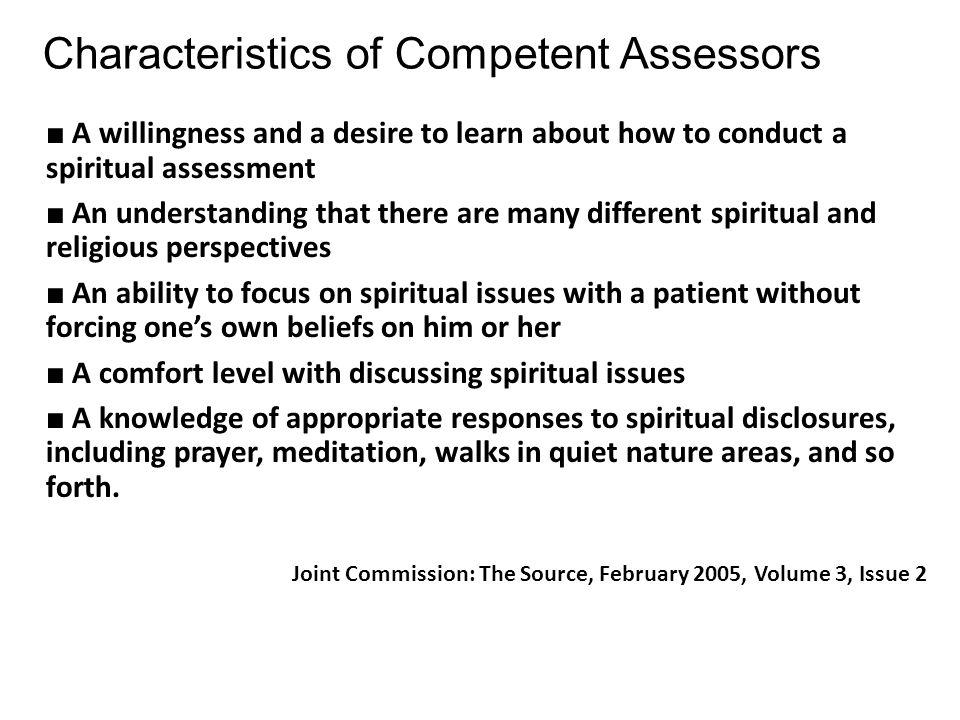 Characteristics of Competent Assessors