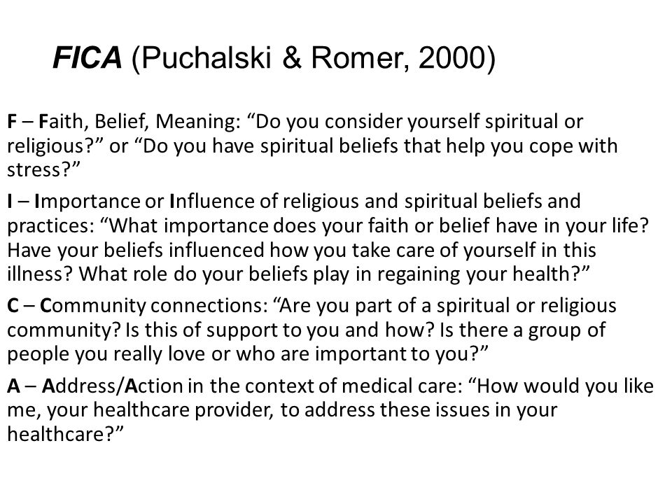 FICA (Puchalski & Romer, 2000)