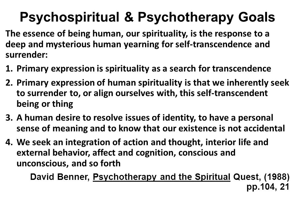 Psychospiritual & Psychotherapy Goals