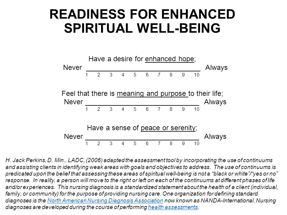 Readiness for enhanced spiritual well-being