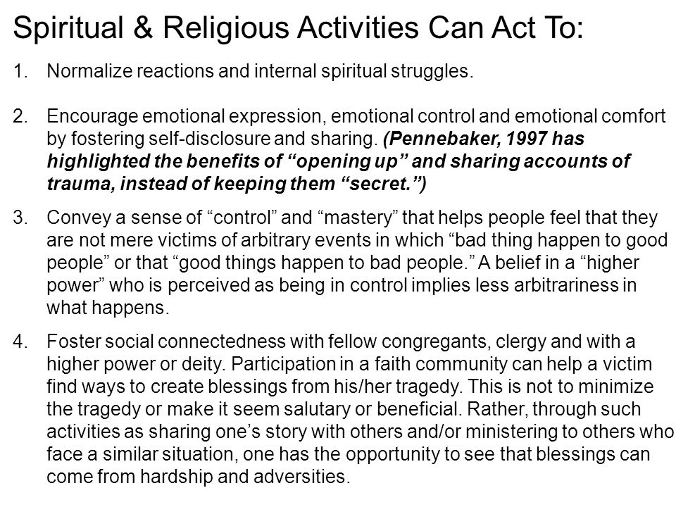 Spiritual & Religious Activities Can Act To: