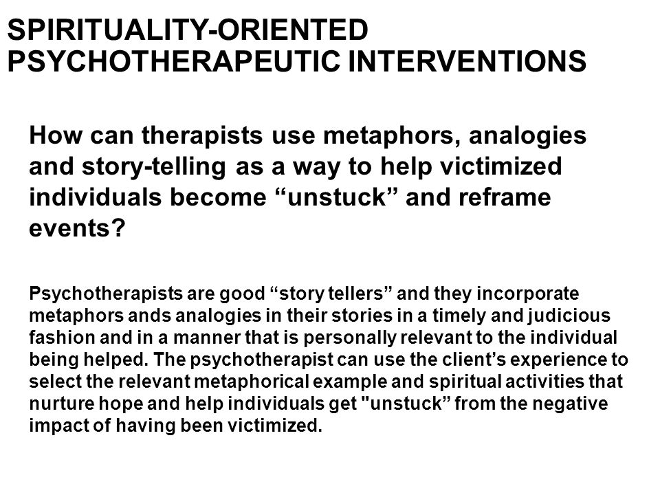 SPIRITUALITY-ORIENTED PSYCHOTHERAPEUTIC INTERVENTIONS