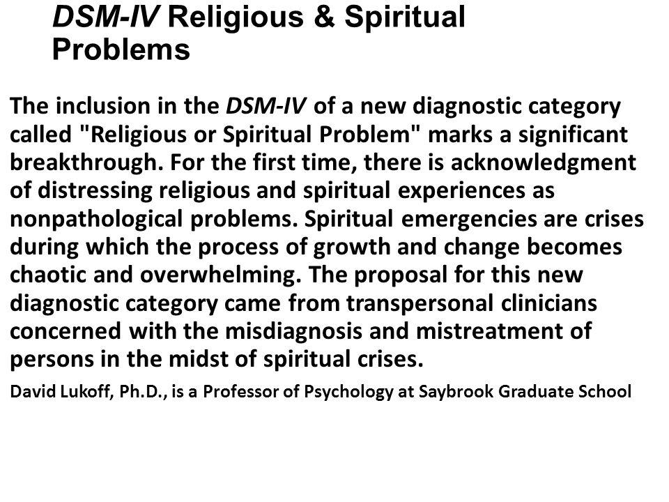 DSM-IV Religious & Spiritual Problems