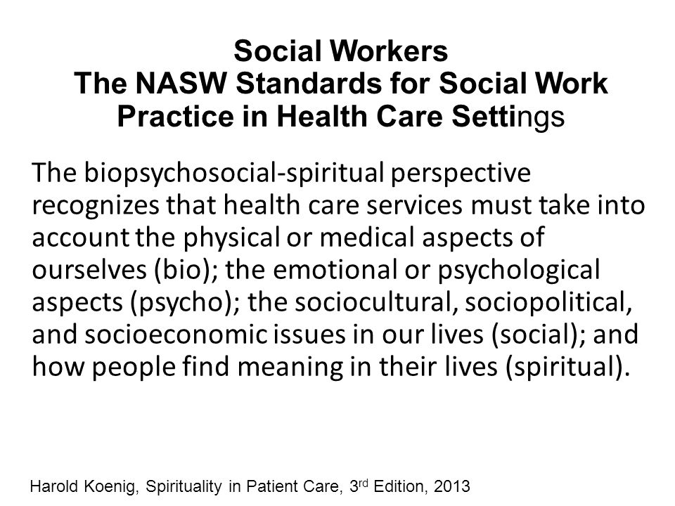 Social Workers The NASW Standards for Social Work Practice in Health Care Settings