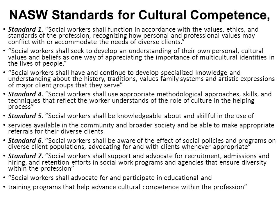 NASW Standards for Cultural Competence,