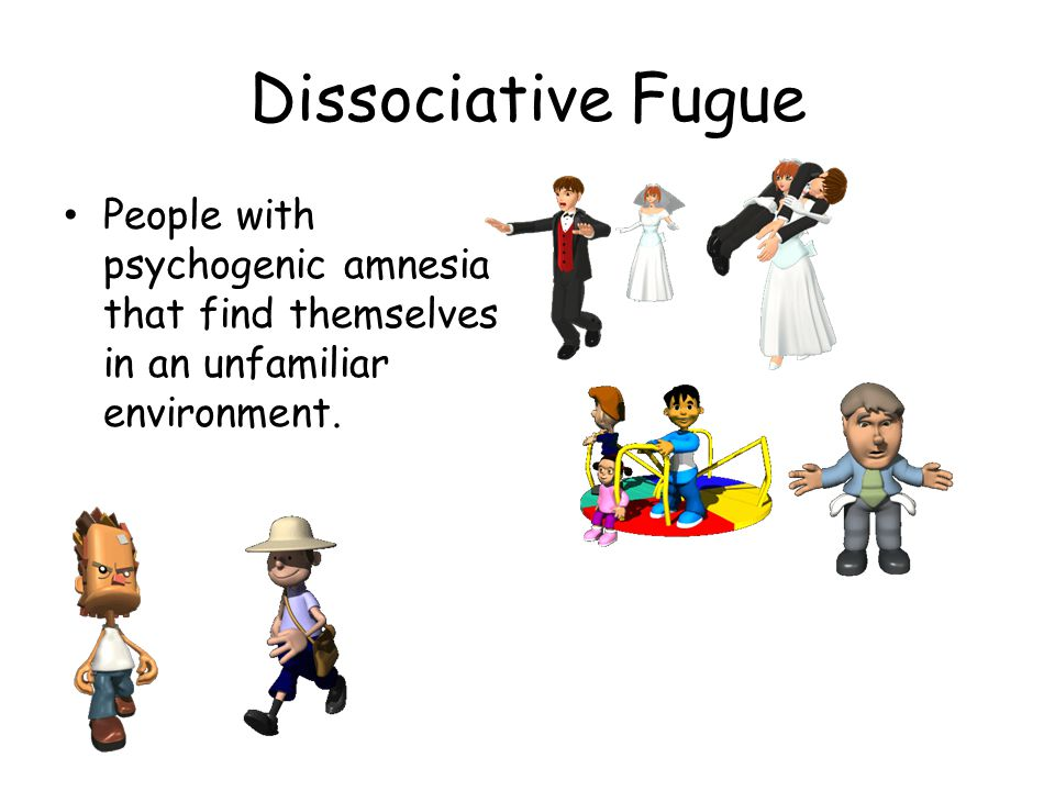 Dissociative Fugue People with psychogenic amnesia that find themselves in an unfamiliar environment.
