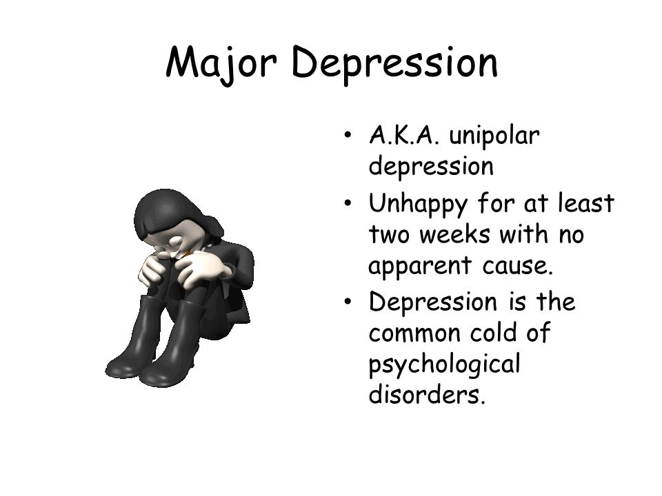 Major Depression A.K.A. unipolar depression