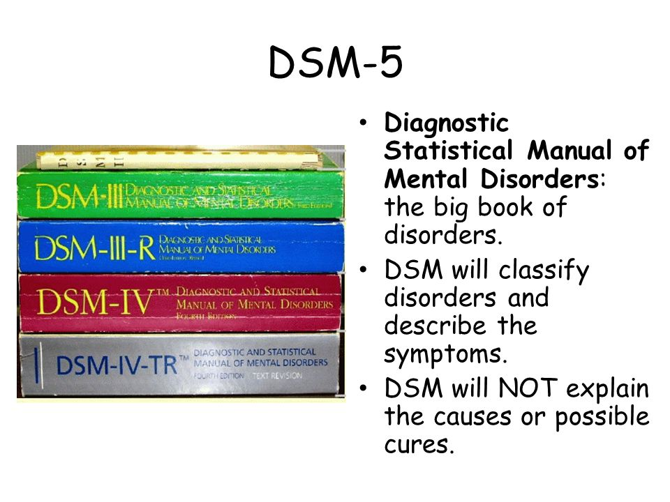 DSM-5 Diagnostic Statistical Manual of Mental Disorders: the big book of disorders. DSM will classify disorders and describe the symptoms.