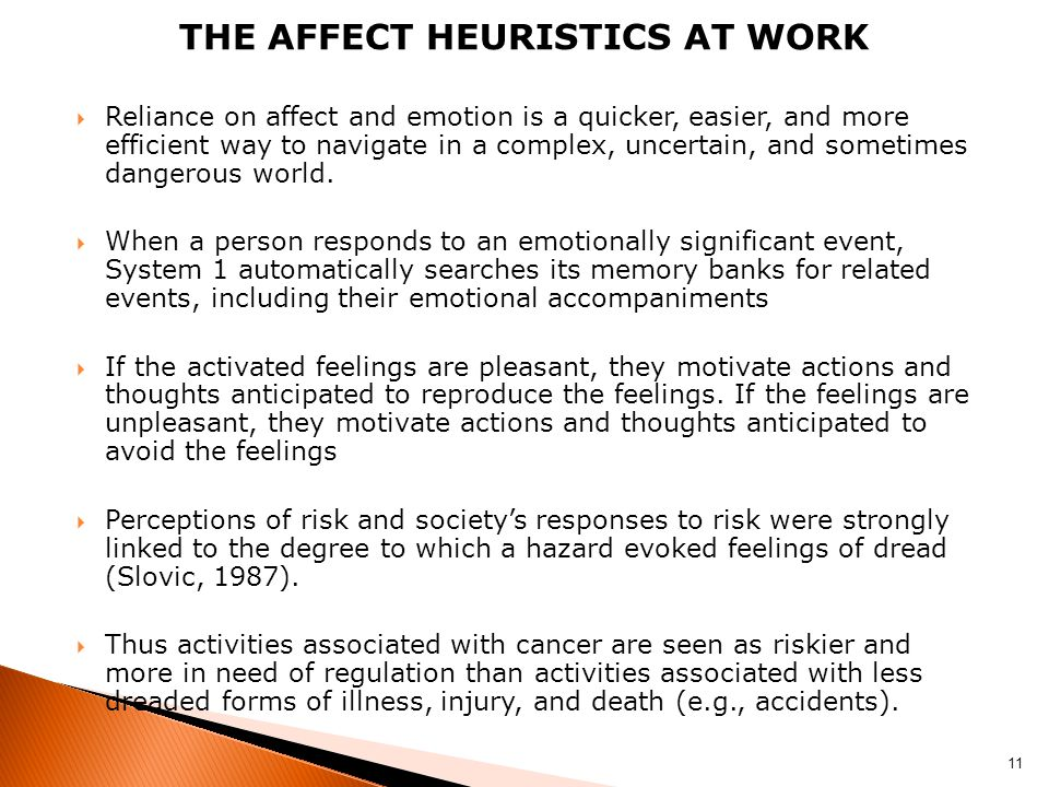 The Affect heuristics at work